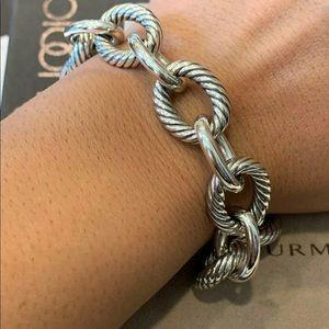 "David Yurman XL SS Oval Chain Link 7.5"" Bracelet"